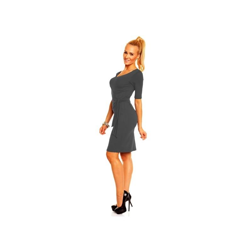Dámské společenské šaty s krátkým rukávem Lea tmavě šedé, Velikost L, Barva Tmavě šedá