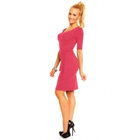 Dámské společenské šaty s krátkým rukávem Lea korálové