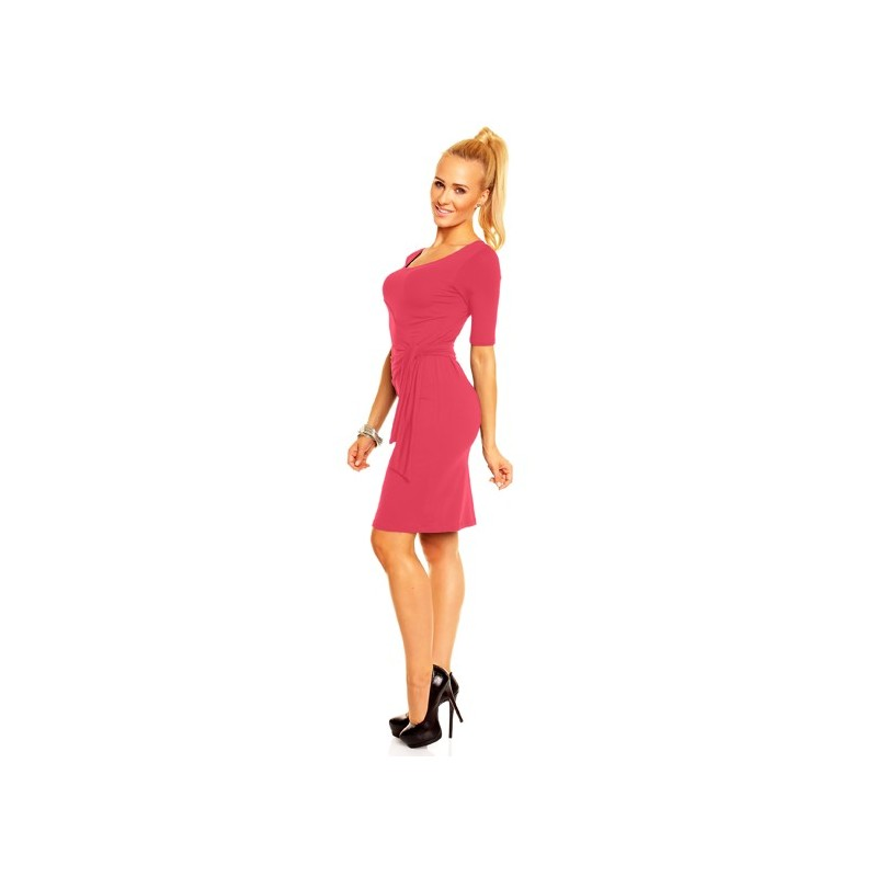 Dámské společenské šaty s krátkým rukávem Lea korálové, Velikost M, Barva Korálová