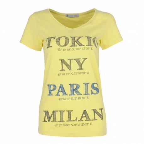 Dámské módní trendy tričko Cities žluté