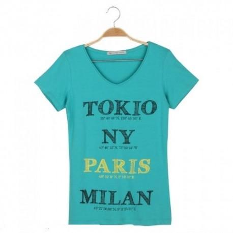 Dámské módní trendy tričko Cities tyrkysové