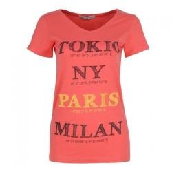 Dámské módní trendy tričko Cities korálové