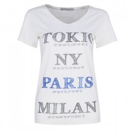 Dámské módní trendy tričko Cities smetanové