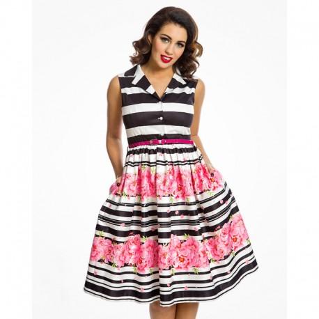Dámské retro šaty Matilda Stripe Floral Border 1ef9457f5f6