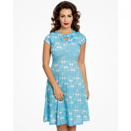 Dámské retro šaty Juliet Flamingo Leaf, Velikost 40, Barva Modrá Lindy Bop 505604