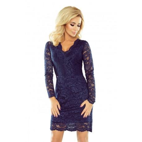 Luxusní dámské krajkové šaty Olivia tmavě modré - Alltex-fashion.cz 60e9897692