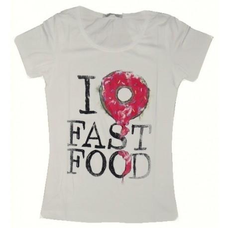 Dámské módní trendy tričko Fast Food smetanové