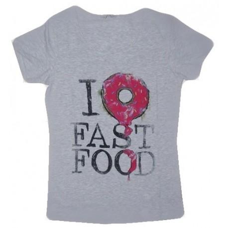Dámské módní trendy tričko Fast Food světle šedé