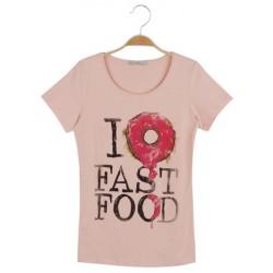 Dámské módní trendy tričko Fast Food meruňkové