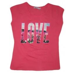 Dámské módní trendy tričko LOVE korálové