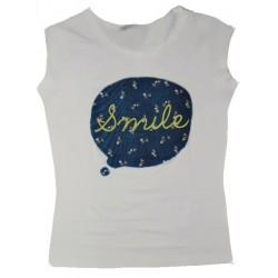 Dámské módní trendy tričko SMILE smetanové