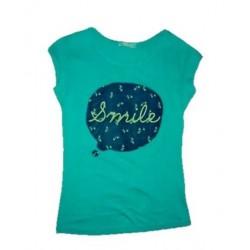 Dámské módní trendy tričko SMILE tyrkysové