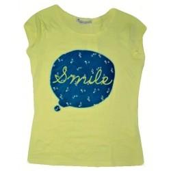 Dámské módní trendy tričko SMILE tyrkysovéžluté