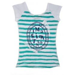 Dámské módní pruhované tričko IMAGINATION zelené