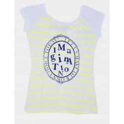 Dámské módní pruhované tričko IMAGINATION žluté