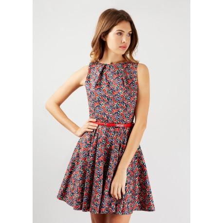 Dámské květinové šaty s červeným páskem Closet