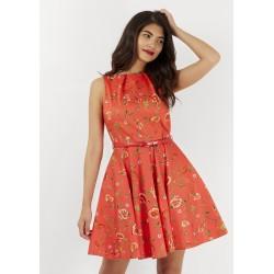 Dámské červené šaty Closet s květinovým motivem