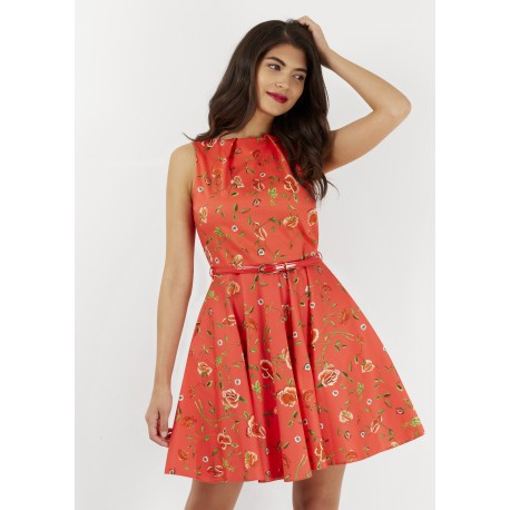 Dámské červené šaty Closet s květinovým motivem, Velikost 38, Barva Červená Closet D3439
