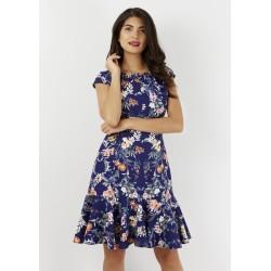 Dámské modré šaty s květy Closet London