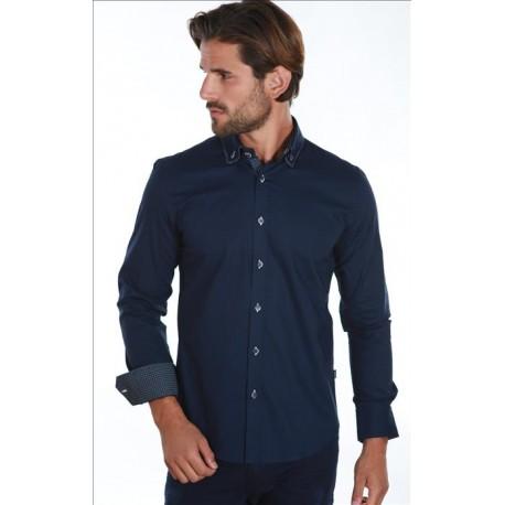 Pánská košile s dlouhým rukávem tmavě modrá Carisma - Alltex-fashion.cz c3eae8bf55