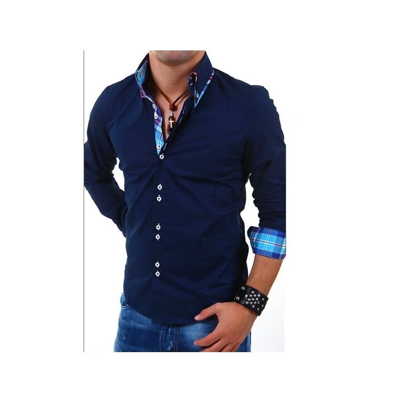 Elegantní pánská košile Carisma tmavě modrá - Alltex-fashion.cz 0a029f0d29