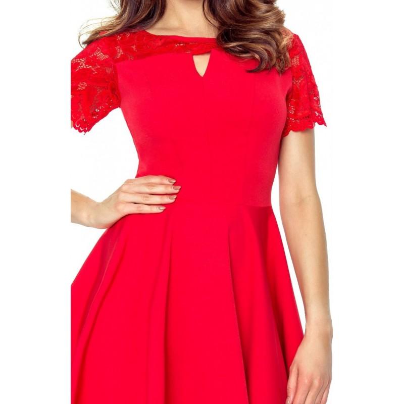 b3988f615526 Krásné šaty s krajkou červené 5901 - Alltex-fashion.cz