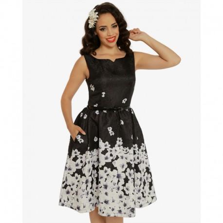 Dámské retro šaty Delta Black Blossom Floral, Velikost 38, Barva Černá Lindy Bop 5056041