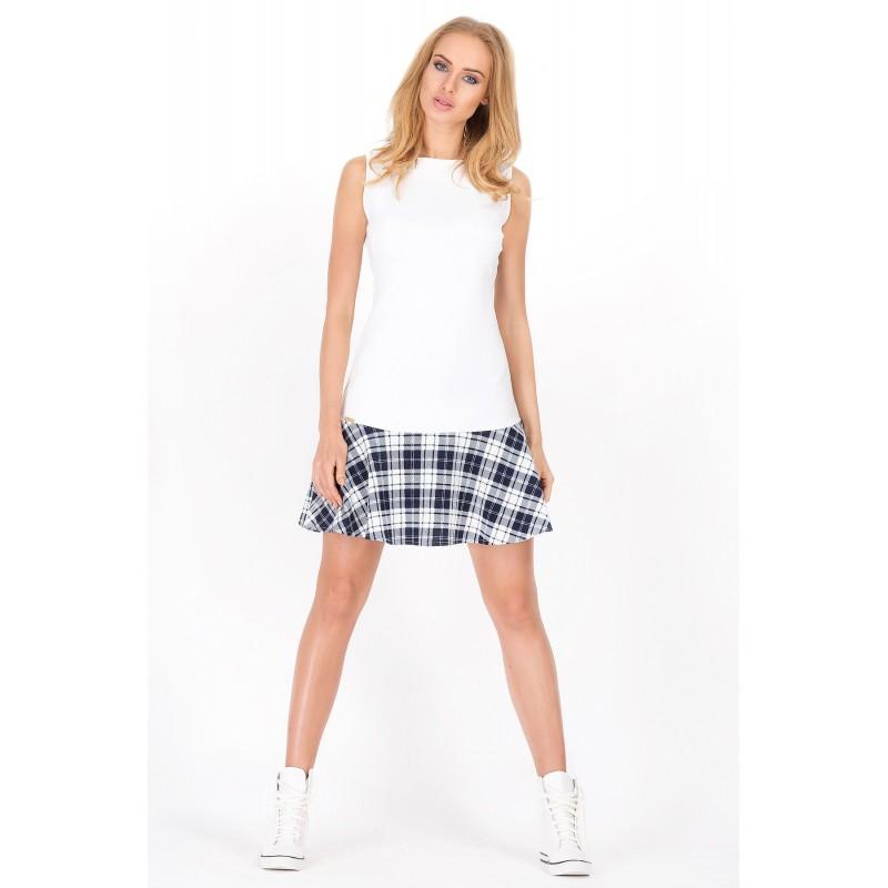 Dámské moderní šaty bez rukávu bílé se vzorem, Velikost 38, Barva Bílá