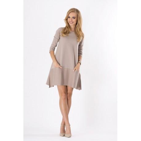 Dámské šaty moderního stylu s 3/4 rukávem kapučínové, Velikost UNI, Barva Kapučínová Makadamia 124