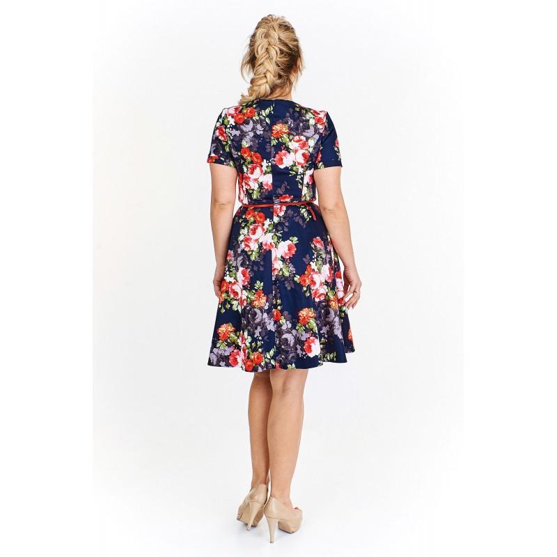 5cf148844238 Dámské květované šaty Georgina tmavě modré - Alltex-fashion.cz