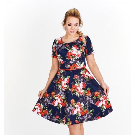 Dámské květované šaty Georgina tmavě modré