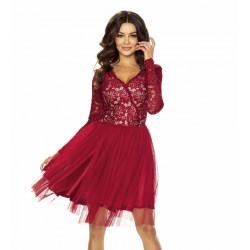 Dámské krajkové šaty vínové s tylovou sukní