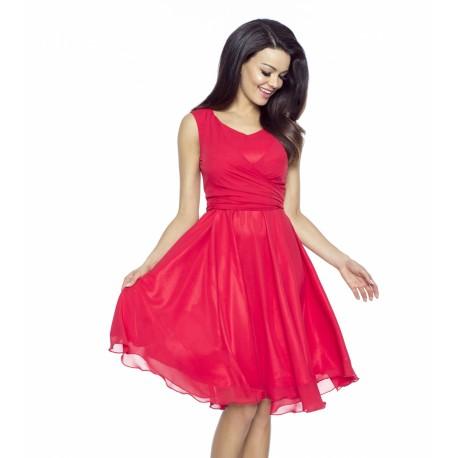 Dámské šifonové šaty v barvě červené