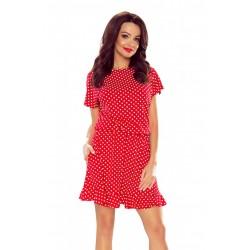 Dámské šaty se vzorem puntíků červené