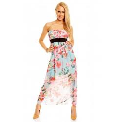 Dámské letní šaty květinové bez rukávu světle modré
