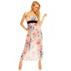 Dámské letní šaty bez rukávu květinové béžové