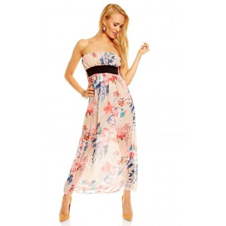 Dámské letní šaty bez rukávu květinové béžové, Velikost UNI, Barva Béžová My Style 146-2
