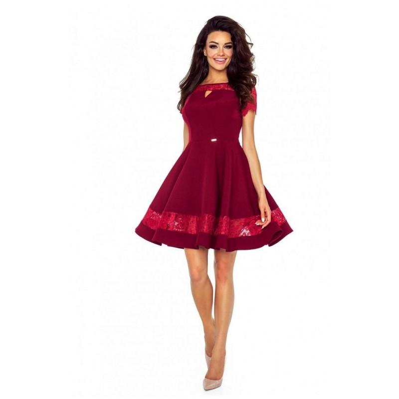 a323c32f0c2e Krásné šaty s krajkou vínové - Alltex-fashion.cz