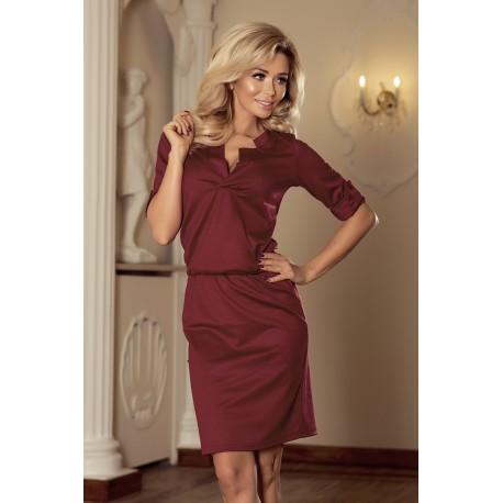 Elegantní šaty se zavazovací tkanicí vínové