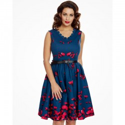 Dámské retro šaty Lindy Bop DARIA tmavě modré