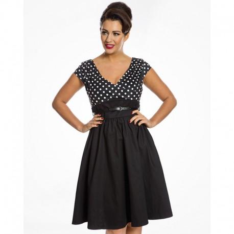 Dámské retro šaty Lindy Bop Valette černé, Velikost 40, Barva Černá Lindy Bop 9039