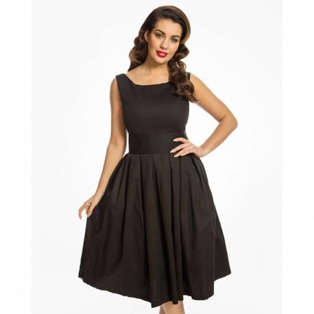 Dámské retro šaty Lindy Bop Lana černé, Velikost 40, Barva Černá Lindy Bop 1617