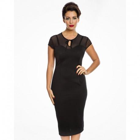 Dámské retro šaty Lindy Bop Esmerelda, Velikost 40, Barva Černá Lindy Bop 9244