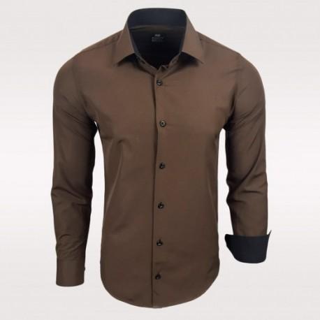 Pánská košile s dlouhým rukávem Rusty Neal hnědá - Alltex-fashion.cz d6b93097f2