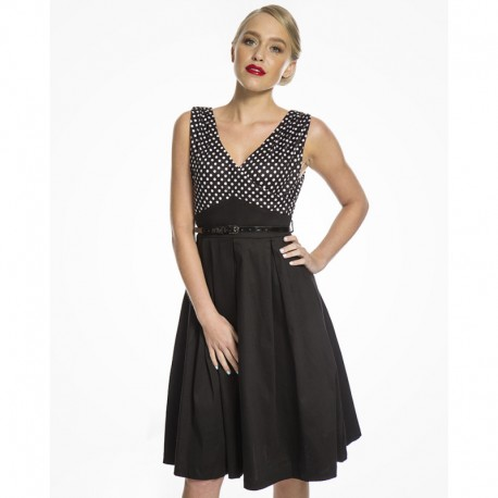 Dámské retro šaty Lindy Bop Valerie černé, Velikost 40, Barva Černá Lindy Bop 8064