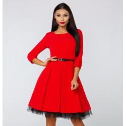 Šaty Veronica s 3/4 rukávem červené