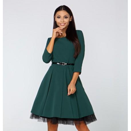 Šaty Elena s 3/4 rukávem smaragdové