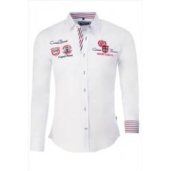 Pánská košile s dlouhým rukávem zdobená nápisy bílá
