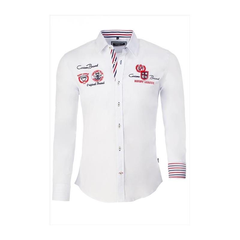 de2e853802f Pánská košile s dlouhým rukávem zdobená nápisy bílá - Alltex-fashion.cz