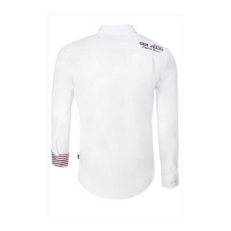 Pánská košile s dlouhým rukávem zdobená nápisy bílá - Alltex-fashion.cz 740c64f39d